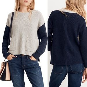 Madewell NWT Patch Pocket Sweater Colorblock Navy